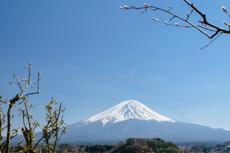 Opini?o de Monte Fuji do lago Kawaguchi, prefeitura de Yamanashi imagens de stock