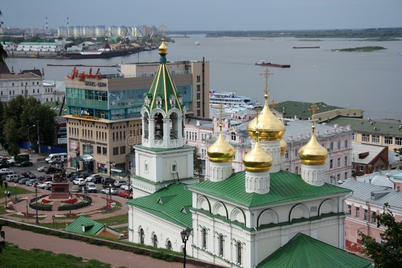 Opinião de Nizhny Novgorod com igreja de John The Baptist fotos de stock