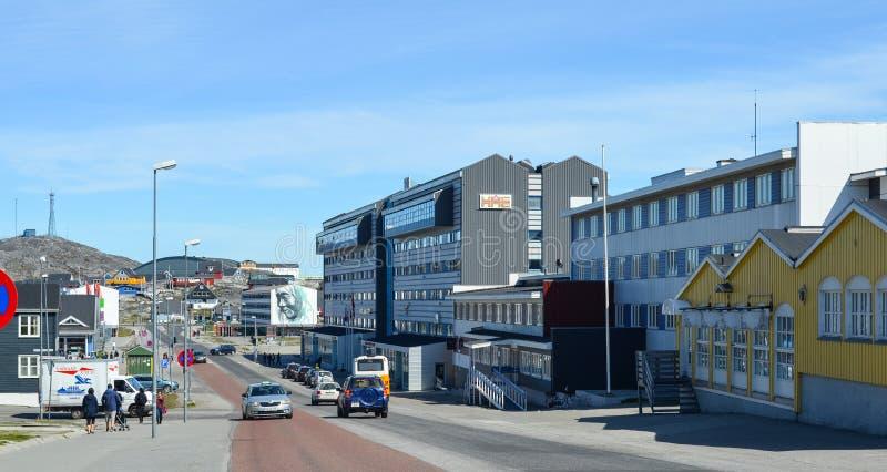 Opinião de Nuuk, capital do turista de Gronelândia fotos de stock royalty free