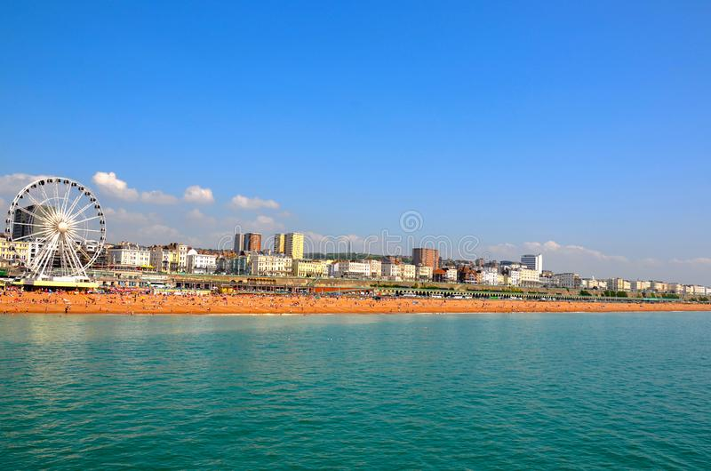 Opinião de Panaromic Brighton Beach foto de stock royalty free
