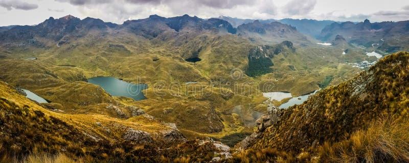 Opinião de Panoramatic do parque nacional de Cajas, Equador foto de stock