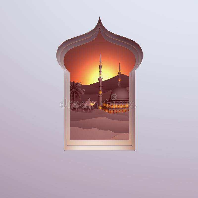 Opinião de papel da arte da janela árabe do deserto do por do sol com a mesquita, o camelo, a lanterna da lâmpada e a palma de da ilustração stock