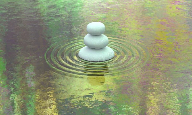 Opinião de pedra empilhada da água da calma do lago foto de stock royalty free