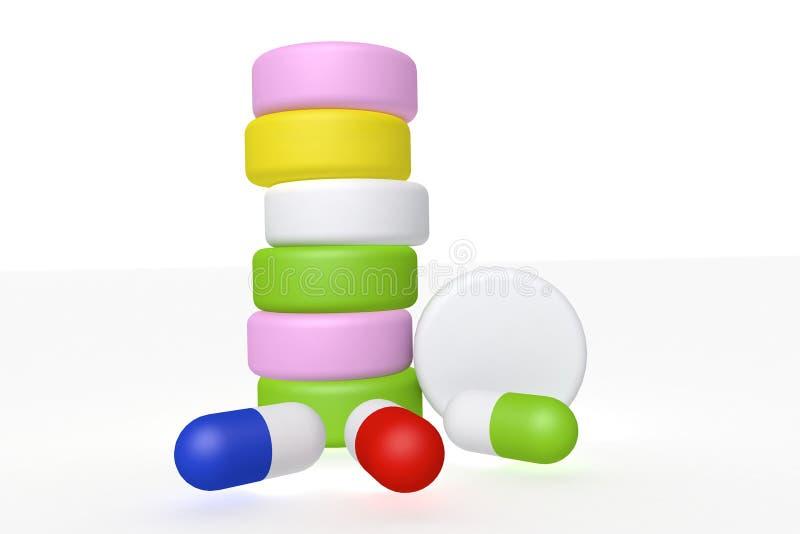 opinião de perspectiva da ilustração 3d de uma pilha de medicinas com outras cápsulas na frente dela fotografia de stock