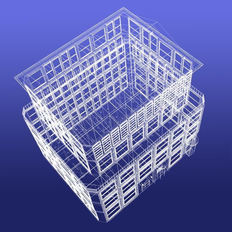 Opinião de perspectiva do edifício do wireframe da parte superior ilustração royalty free