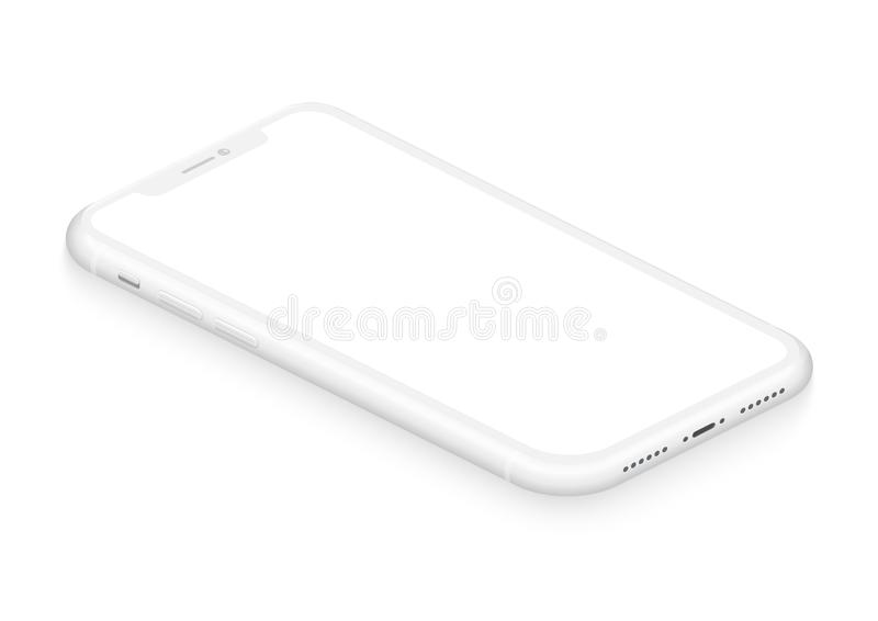 Opinião de perspectiva frameless branca isométrica realística do modelo do smartphone para o ui infographic, visual, app comercia ilustração royalty free