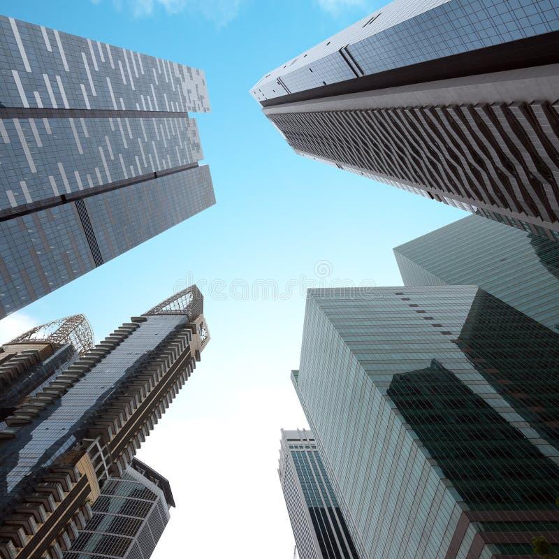 Opinião de perspectiva moderna urbana das construções do negócio Cingapura foto de stock