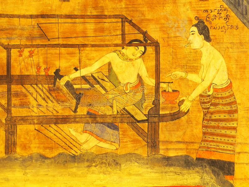 Opinião de pintura de parede no templo de TAILÂNDIA do norte: Templo de WAT PHUMIN foto de stock