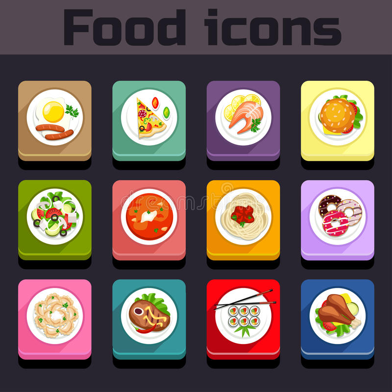 Opinião de plano da refeição dos ícones ilustração royalty free