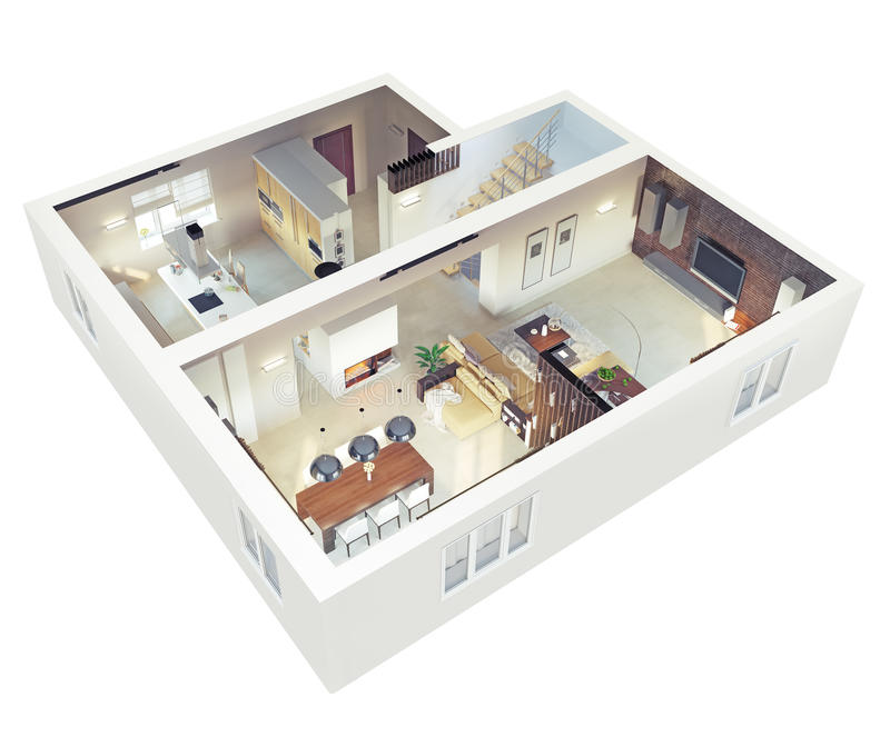 Opinião de plano do apartmen ilustração stock