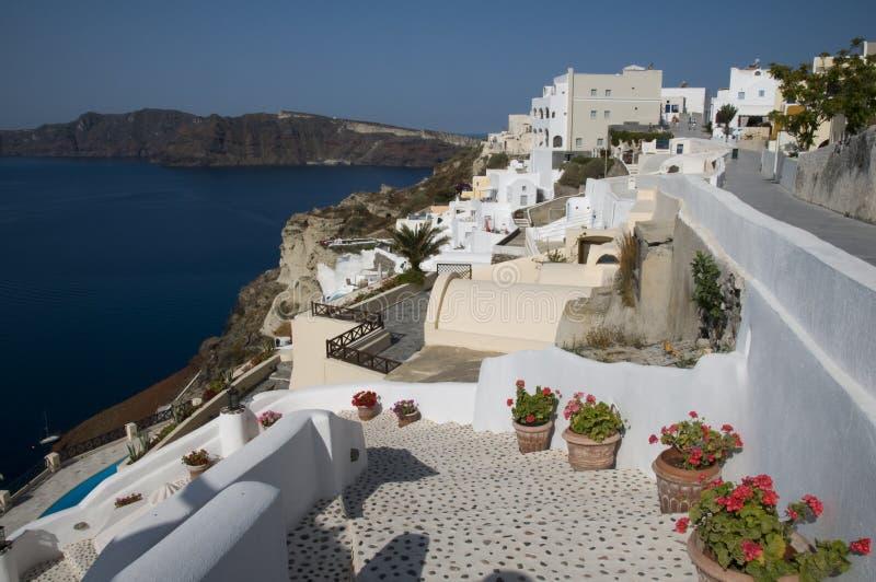 Opinião de Santorini sobre o porto fotografia de stock royalty free