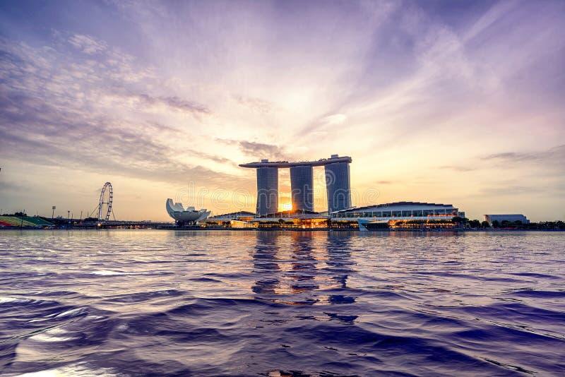 Opinião de Singapura de areias de Marina Bay fotografia de stock royalty free