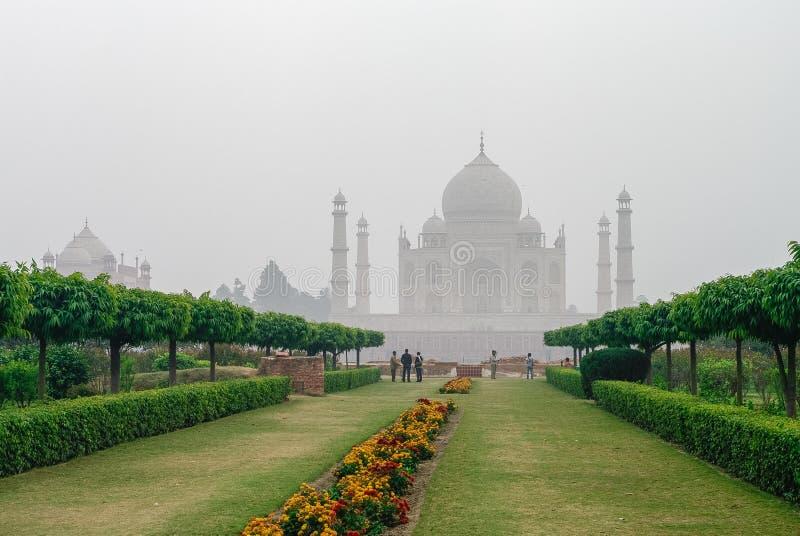 Opinião de Taj Mahal na névoa da manhã através do Mehtab Bagh ou imagem de stock