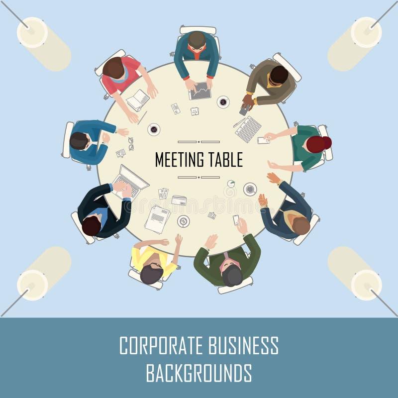 Opinião de tampo da mesa da reunião ilustração do vetor