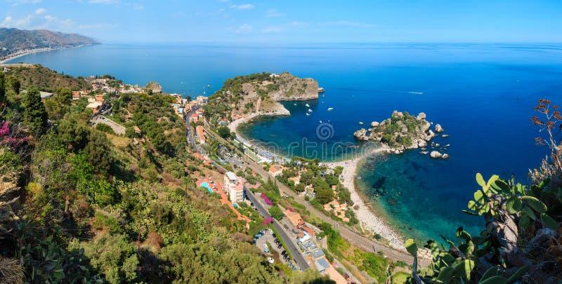 Opinião de Taormina de acima, Sicília foto de stock