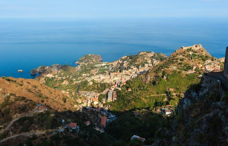 Opinião de Taormina de Castelmola, Sicília imagens de stock royalty free