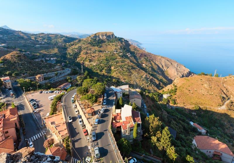 Opinião de Taormina de Castelmola, Sicília imagem de stock