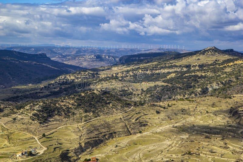 Opinião de vista aérea do castelo Morella, imagem de stock