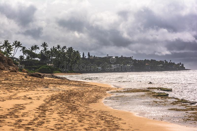 Opinião Diamond Beach Park, Oahu, Havaí fotos de stock royalty free