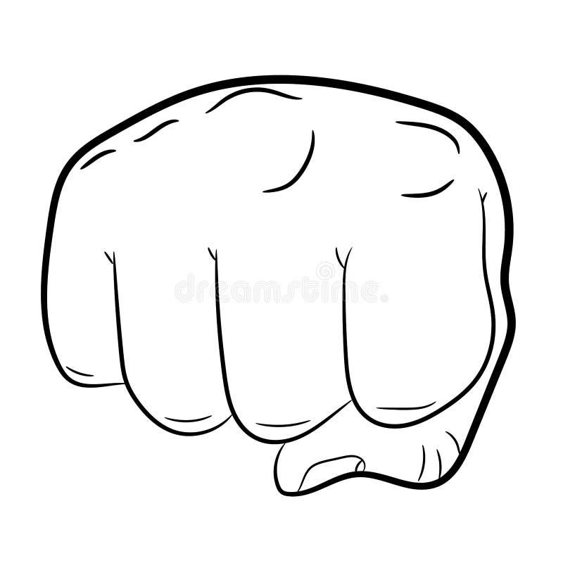 Opinião dianteira apertada do punho no branco das ilustrações ilustração stock