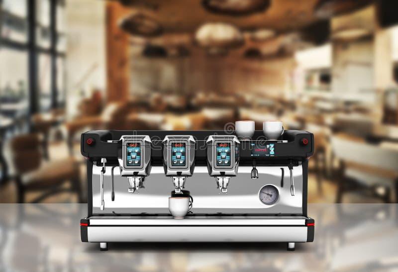 Opinião dianteira da máquina moderna do café no fundo 3d da casa do café ilustração stock