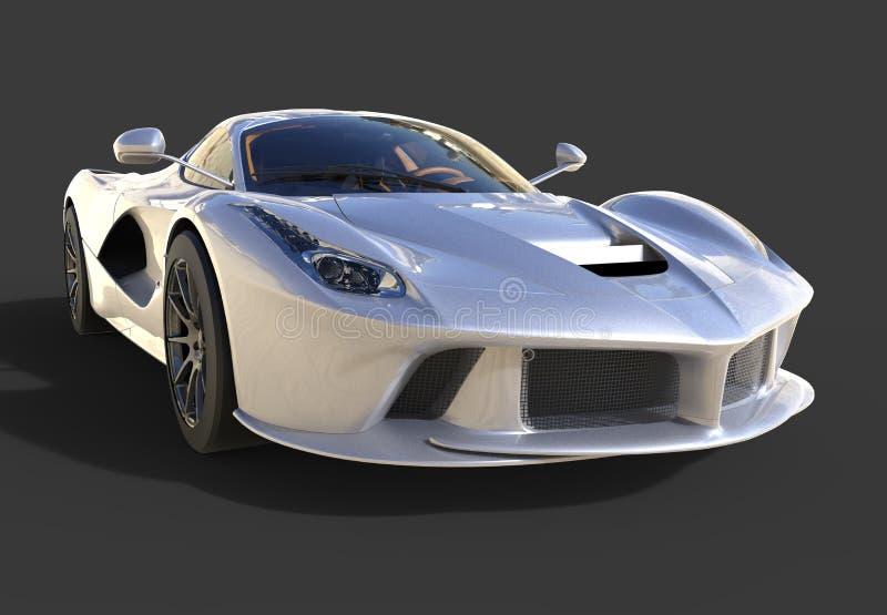 Opinião dianteira de carro de esportes A imagem de um carro cinzento dos esportes em um fundo preto ilustração stock