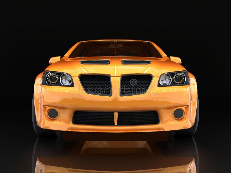 Opinião dianteira de carro de esportes A imagem de um carro do ouro dos esportes em um fundo preto ilustração do vetor