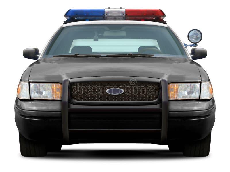 Opinião dianteira de carro de polícia foto de stock