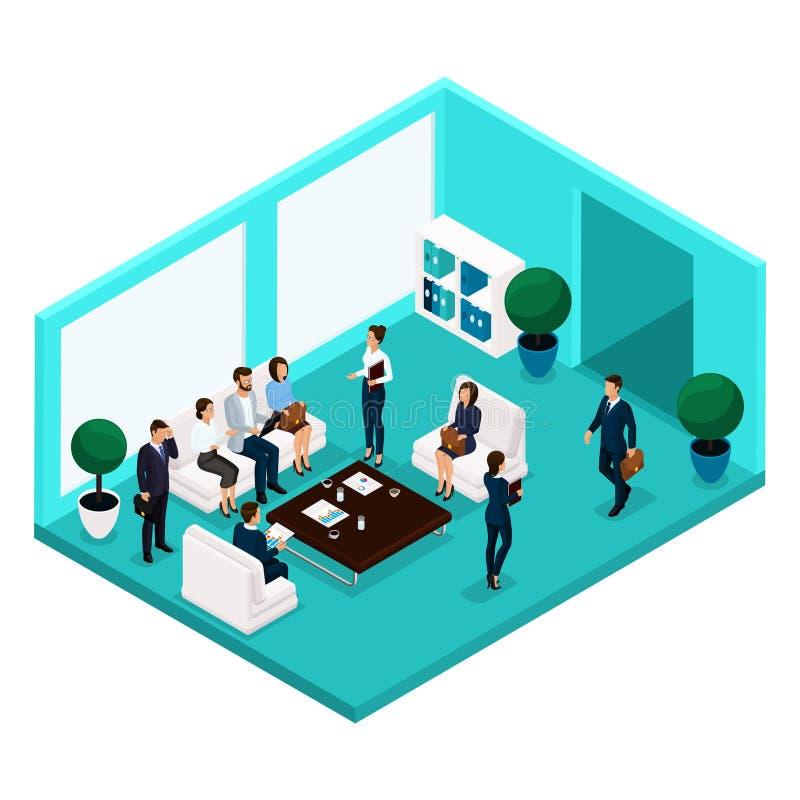 Opinião dianteira de comunicação da sala dos povos isométricos da tendência, uma grande sala do escritório, reunião, discussão, s ilustração royalty free