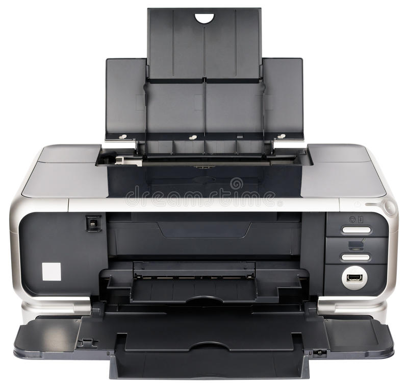 Opinião dianteira de impressora Inkjet fotografia de stock