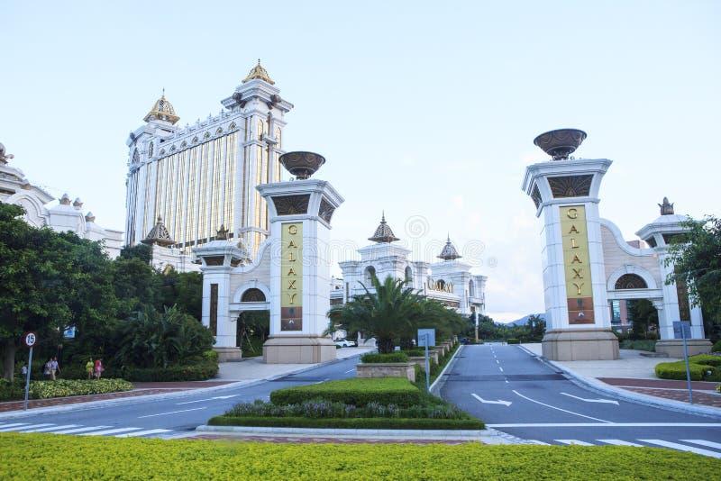 Opinião dianteira de MACAU CHINA da TIRA de COTAI 22 de agosto do hotel de Galaxi grande e do hotel de luxo em Macau em agosto 22 foto de stock