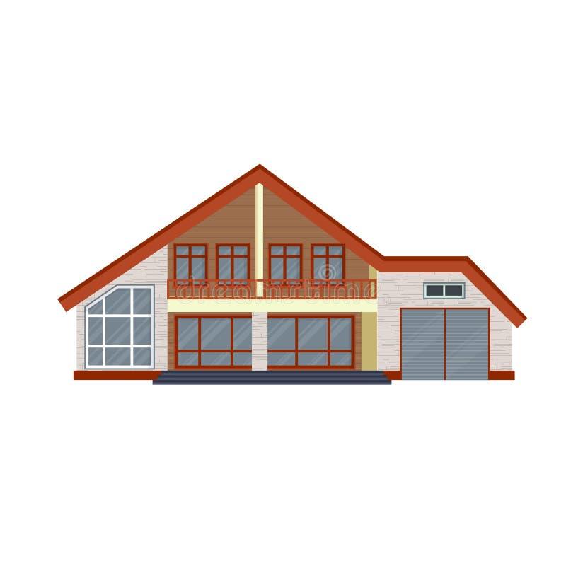 Opinião dianteira detalhada moderna da casa ou da casa de campo Real contemporâneo ilustração royalty free