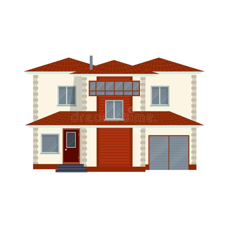 Opinião dianteira detalhada moderna da casa ou da casa de campo Real contemporâneo ilustração stock