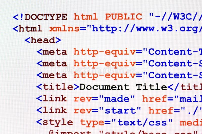 Opinião dianteira do código do Web page do HTML imagem de stock royalty free