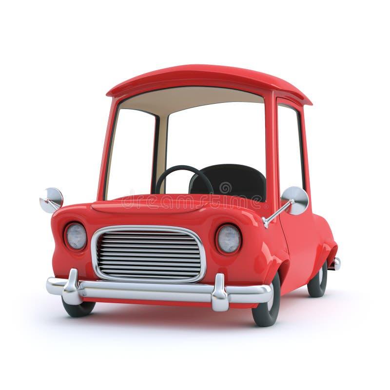 opinião dianteira do carro vermelho dos desenhos animados 3d ilustração stock