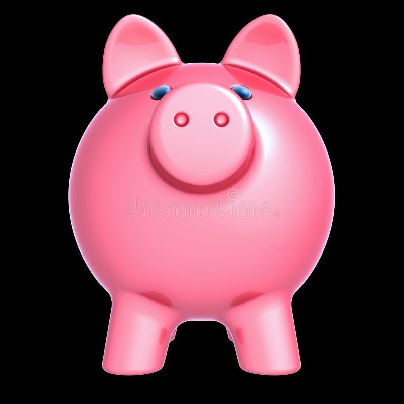 Opinião dianteira do close up cor-de-rosa do mealheiro ilustração do vetor