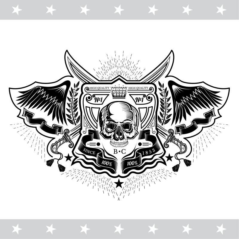 Opinião dianteira do crânio sem uma maxila mais baixa entre as asas, as fitas e sabres transversais Etiqueta do vintage isolada ilustração royalty free