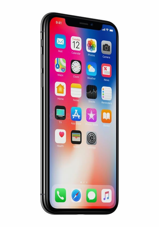 A opinião dianteira do iPhone X novo de Apple girou levemente isolado no fundo branco fotografia de stock royalty free