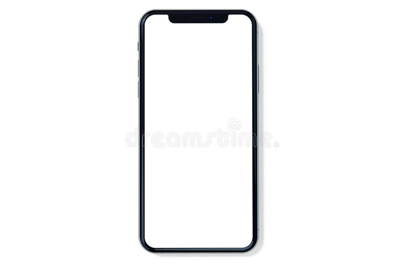 Opinião dianteira do modelo da prata de IPhone Xs no branco foto de stock royalty free