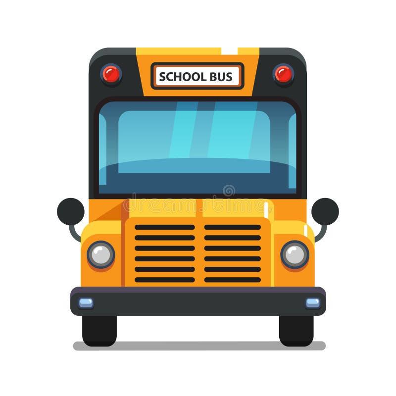 Opinião dianteira do ônibus escolar amarelo ilustração royalty free