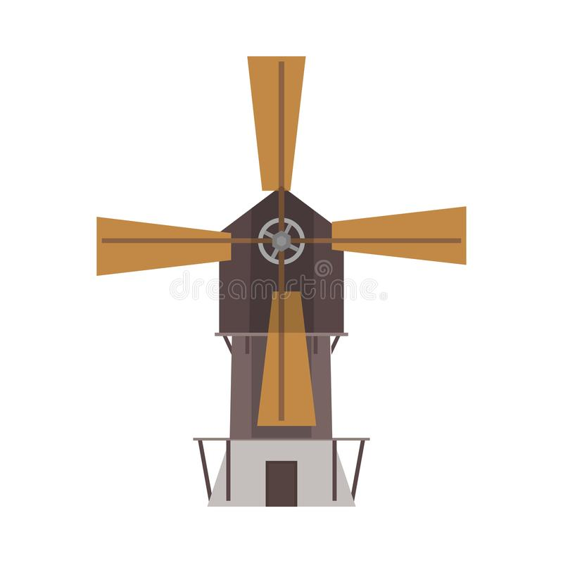 Opinião dianteira do vetor da indústria da tecnologia do moinho de vento Ícone liso ambiental do trigo do campo de exploração agr ilustração stock
