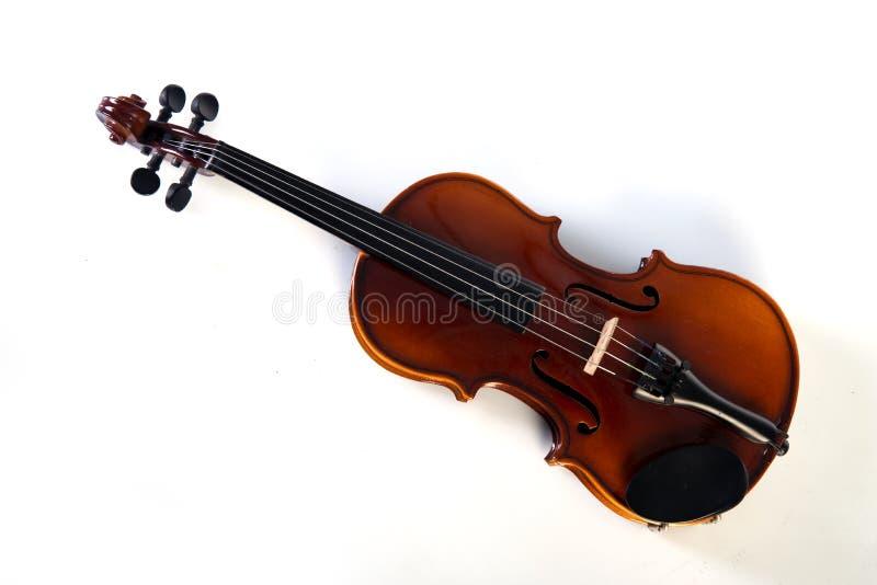 Opinião dianteira do violino isolada no branco fotografia de stock royalty free