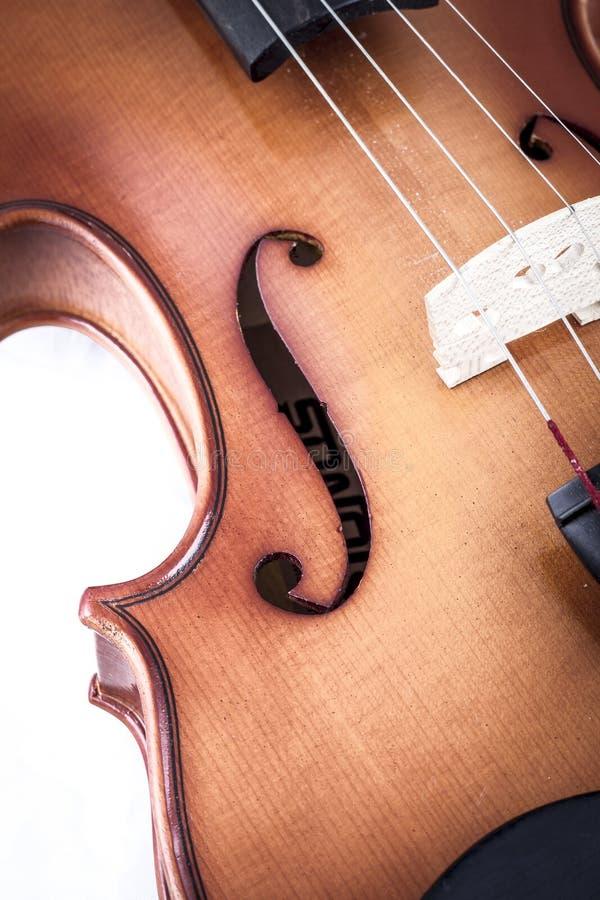 Opinião dianteira do violino isolada no branco, vintage imagens de stock royalty free