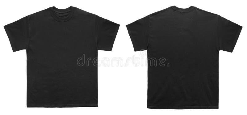 Opinião dianteira e traseira do molde vazio do preto da cor da camisa de T foto de stock royalty free