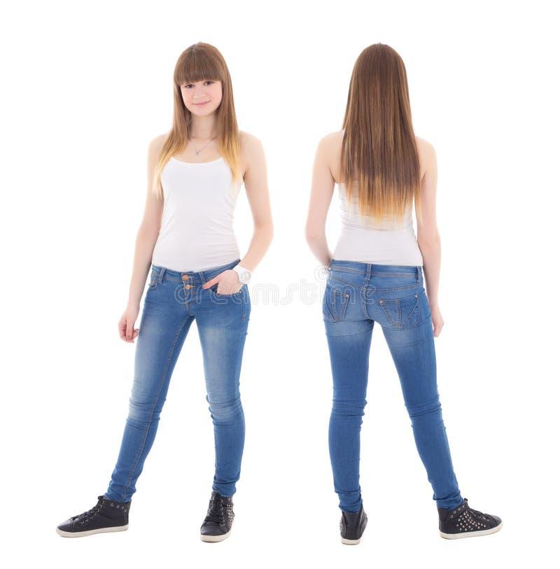Opinião dianteira e traseira o adolescente bonito no isolat branco do t-shirt fotos de stock royalty free