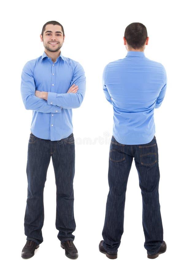 Opinião dianteira e traseira o homem de negócio árabe no isolado azul da camisa foto de stock royalty free