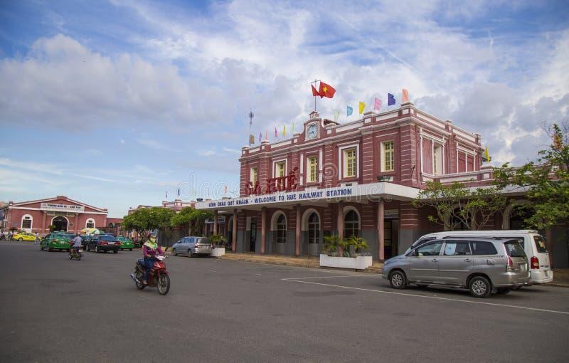 Opinião dianteira Hue Railway Station imagem de stock royalty free