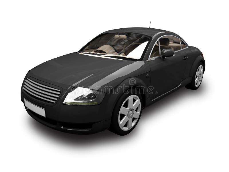 Opinião dianteira isolada 02 do carro desportivo preto ilustração stock