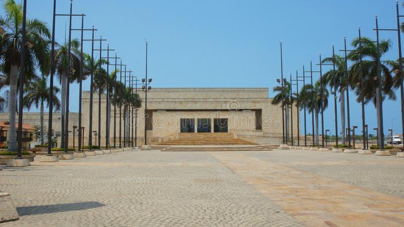 Opinião dianteira Julio Cesar Turbay Ayala Convention Center na cidade de Cartagena de Índia fotografia de stock