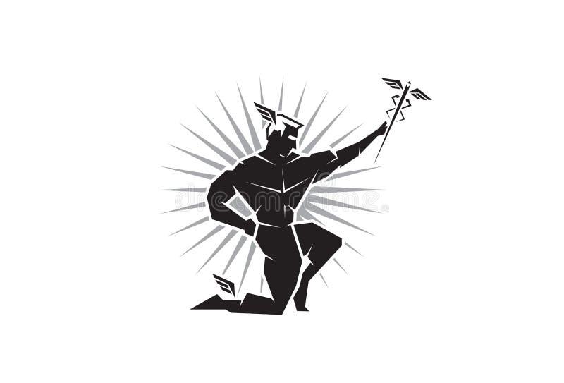 Opinião dianteira o deus grego Hermes ilustração stock